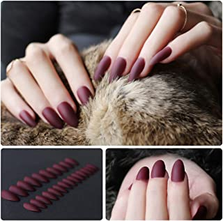 24pcs Matte Pure Color Stiletto Nails False Gel Nails Art Tips Sets Full Cover Medium Almond Shape Acrylic Fake Nail Tips Gel (Matte Wine red)