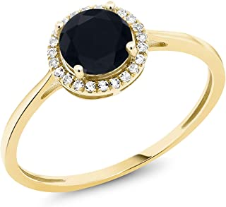 10K Yellow Gold Black Onyx and White Diamond Women's Engagement Ring (0.92 Ct Round, Available in size 5, 6, 7, 8, 9)