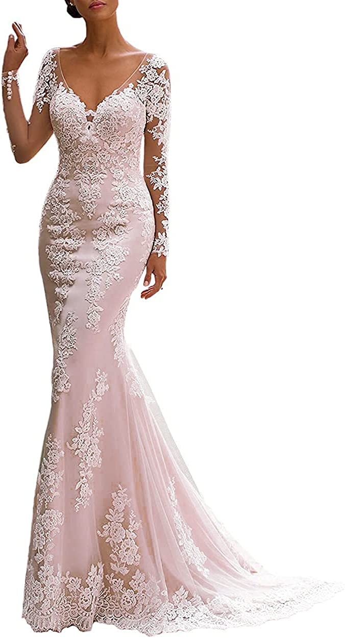 Mermaid Wedding Dresses for Bride Iluusion Lace Appliques Sleeveless Button Closure Wedding Dress with Train