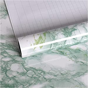 VEELIKE Green Marble Contact Paper Wallpaper Peel and Stick 15.74 x 118.11inches Removable Decorative Adhesive Wall Paper Shelf Liner Granite Roll for Locker Countertop Home Wall Decor