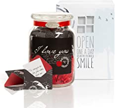 KindNotes Glass Keepsake Gift Jar with Inspirational Messages - Romantic I Love You
