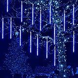 CrazyFire Meteoros Lluvia Luces, 30 cm 10 tubos 240 LED Luces de Lluvia de Meteoros, Luces de Lluvia Impermeables, para El Hogar, Festivales, Jardines, Decoración de Calles - Azul