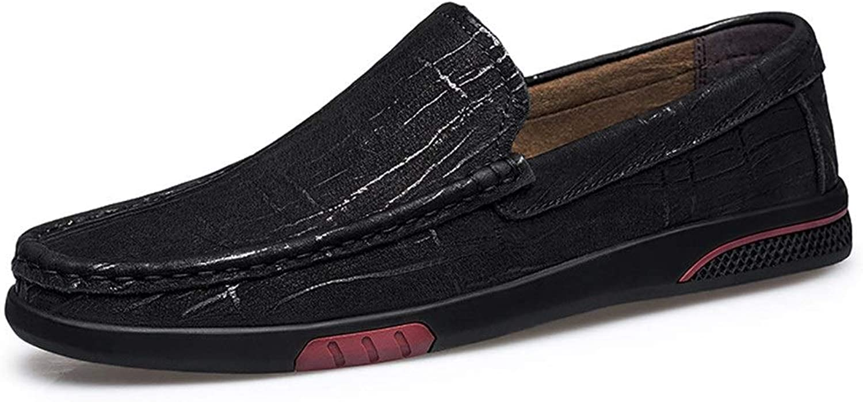 QISTAR-MAN Herren Stiefel-Mokassins Schlupfschuhe OX Leder Schlichte Farbe feine Textur einfarbig, Schwarz - Schwarz - Größe  43 EU