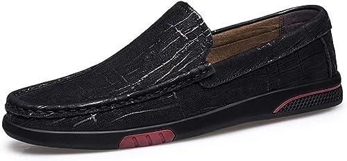 Wanlianer-chaussures Mocassins Conduite Mocassins Bateau, Texture Texture Fine, Style Ox en Cuir Mocassins Plats (Couleur   Noir, Taille   43 EU)  100% livraison gratuite