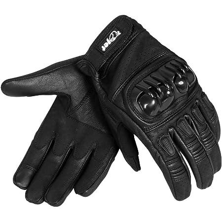 Jet Motorradhandschuhe Herren Sommer Leder Touchkompatible Fingerspitzen Handknöchelprotektor Belüftung Kobi Schwarz L Auto