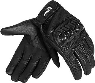 Texpeed Herren Leder Schutz Racing Motorrad Handschuhe in Schwarz /& Chrom
