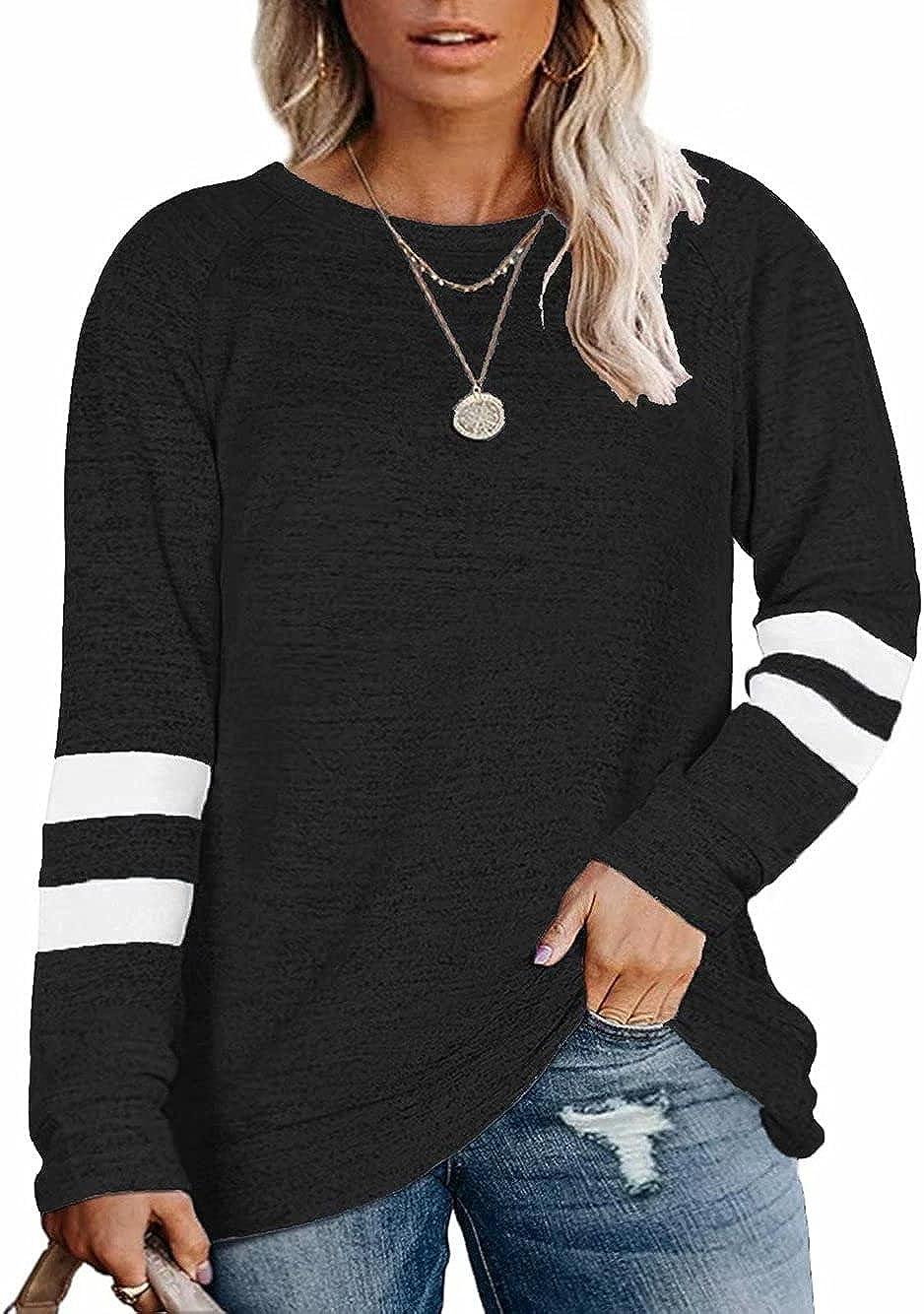 WKIOR Plus Size Tops For Women Long Sleeve Tunic Loose Shirt Crewneck Pullover Sweatshirts
