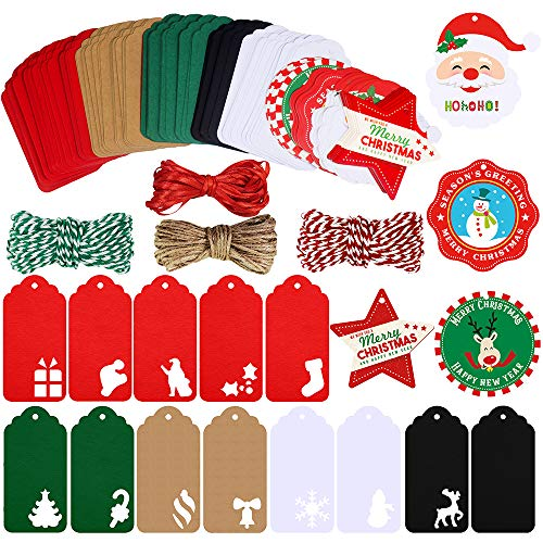 Winlyn 170 Pcs Christmas Wrap Tags Holiday Hang Tags Paper Cuts Hollow Christmas Tree Santa Snowflake Design Party Favor Tags with Twines for Arts Crafts Wedding Christmas Festival