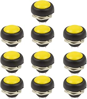 10Pcs Momentary Push Button Switch SPST Mini Round Button Switch 12V Car Dashboard Boat Yellow