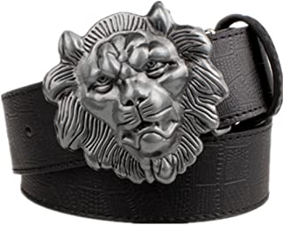 Mens Lion Head Buckle Belt Fashion Jeans Decorative Belt