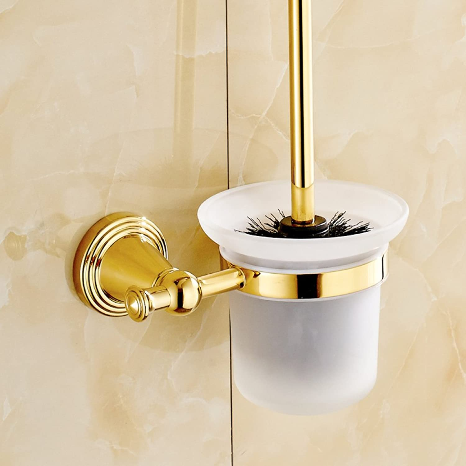 ZXY Toilet brush set Wall Mounted European-style copper-plated toilet brush, ceramic   frosted cup toilet brush holder,B