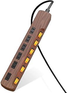 エレコム 電源タップ 雷ガード 個別スイッチ ほこりシャッター付 6個口 木目調 2m ウォルナット ECT-1320W