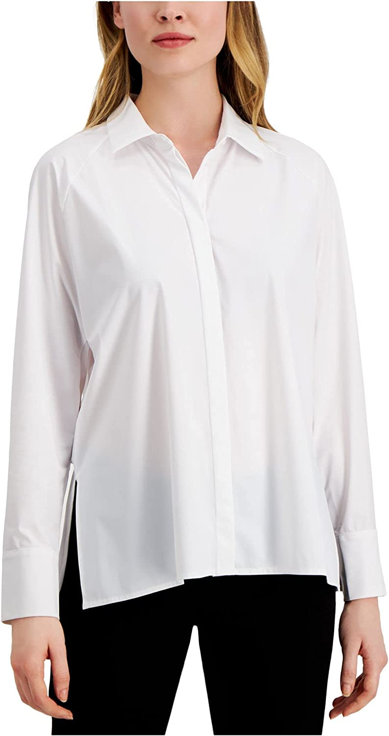 Alfani Womens Collared Long Sleeve Button-Down Top White M