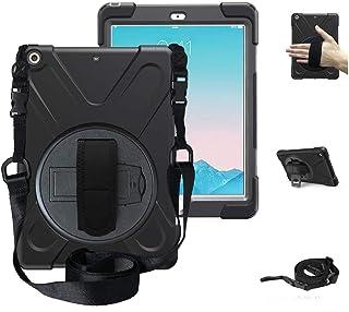 iPad air2 ケース 2014 SIBEITU iPad エアー2 ケース 耐衝撃 衝撃吸収 スタンド ハンドストラップ 肩掛けー ショルダーストラップ 回転 頑丈 仕事 傷つけ防止 防塵 ハード キッズ モデル A1566 A1567 ...