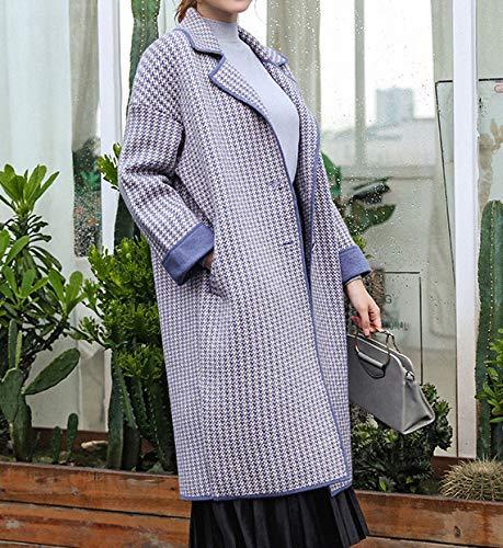 HJW Otoño E Invierno Mujeres Enrejado Abrigo Abrigo,Señoras Suelto Mediados Longitud Gabardina,Espesar Mantener el Calor Saco Moda/C/M