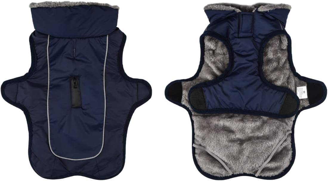 XL, Navy Blue Fleece Warm Dog Jacket Coat Vest for Puppy Winter Cold Weather Soft Windproof Apparel for Small Medium Large Dogs