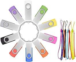 Memoria USB 16GB Pendrive 10 Piezas - Práctico Pen Drive 16 GB Económico 10 Unidades Portátil Flash Drives - Giratorio Llave USB 2.0 Almacenamiento de Datos Multicolor con Cuerdas by FEBNISCTE