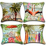 L1 Beach Throw Pillow Cover 18'x18' Set of 4 Coastal Nautical Tropical Summer Indoor Outdoor Decorative Pillow Cover Colorful Palm Tree Umbrella Flip Flops White Chairs Accent Pillow for Sofa Patio