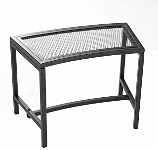 Sunnydaze Outdoor Curved Fire Pit Bench - Rustic Backyard Backless Powder-Coated Black Metal Mesh Garden, Patio, Porch and Deck Chair Seating - Single