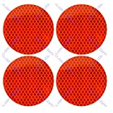 3' Inch Round DOT-SAE Amber/Red High Visibility Reflective Stick-On Prism Reflector | Strong Adhesive/Weatherproof | Trailer Camper RV Flatbed Fender Property Boat Marine (Amber, Qty 4)