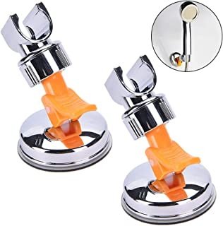 2 Pack Adjustable Shower Head Holder, Cooyeah Bathroom Suction Cup Shower Head Holder Handheld Reusable No Drill Chrome Finish