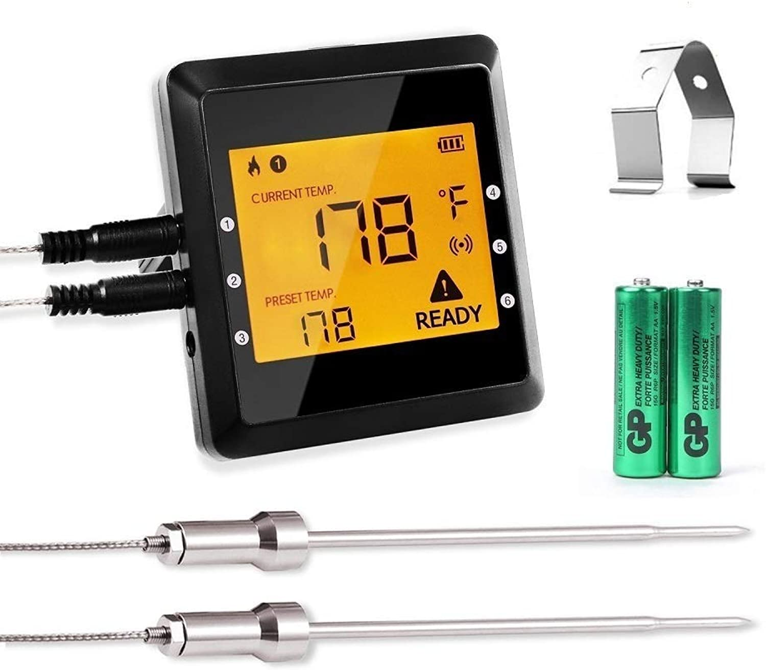 Digital Meat Thermometer,ICOCO Best Smart Wireless blueetooth Meat Thermometer with 6 Probe Ports Upgraded Backlight Kitchen Food Thermometer and Easy BBQ Meat Thermometer for Grill,Cooking,Oven,Smoke