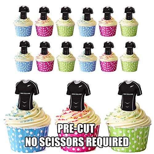 Lot de 12 décorations comestibles prédécoupées pour cupcakes/gâteaux de rugby de Nouvelle-Zélande