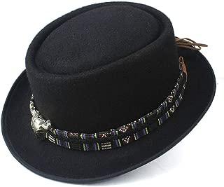 2019 Mens Womens Hats Men Women Unisex Flat Top Hat Fedora Hat for Gentleman Pork Pie Hat Elegant Lady Wool Fascinator Trilby Church Hat Wool Polyester Casual Wild Hat (Color : Black, Size : 58)