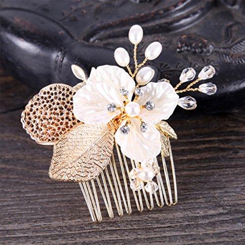 FXCO - Peineta de novia con hoja de boda, diseño de flor...