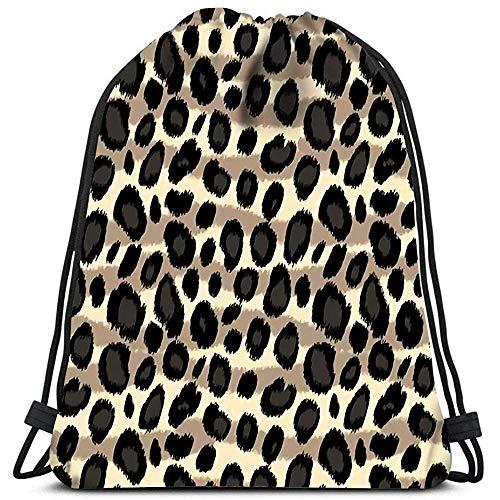 Cordón Bolsa De Gimnasia Leopard Print Animal En Blanco Y Negro Bolsa De Lavandería Gym Yoga Bag