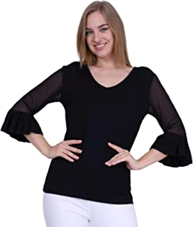 Women's V-neck tulle sleeves comfortable, flexible, quality fabric T-shirt, blouse