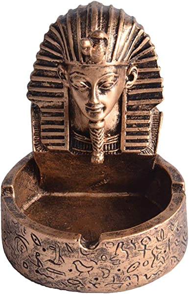 Fenteer Egyptian Souvenir Resin Ashtray Hand Crafted Engraved Pharaoh Pattern Ashtray 4 92inch Tall 2 Colors Bronze