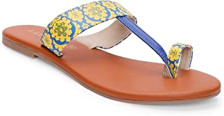 KANVAS Women Ethnic Yellow and Blue Mughal Kolhapuri Chappal/Flats