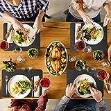 BaoWnylz Tischset abwaschbar aus Filz 18er Set - 6 Platzset Abwischbar (44x30cm), 6 Glasuntersetzer, 6 Bestecktaschen - Hochwertig Hitzebeständig Tischuntersetzer Platzdeckchen - DunkelGrau Anthrazit - 7