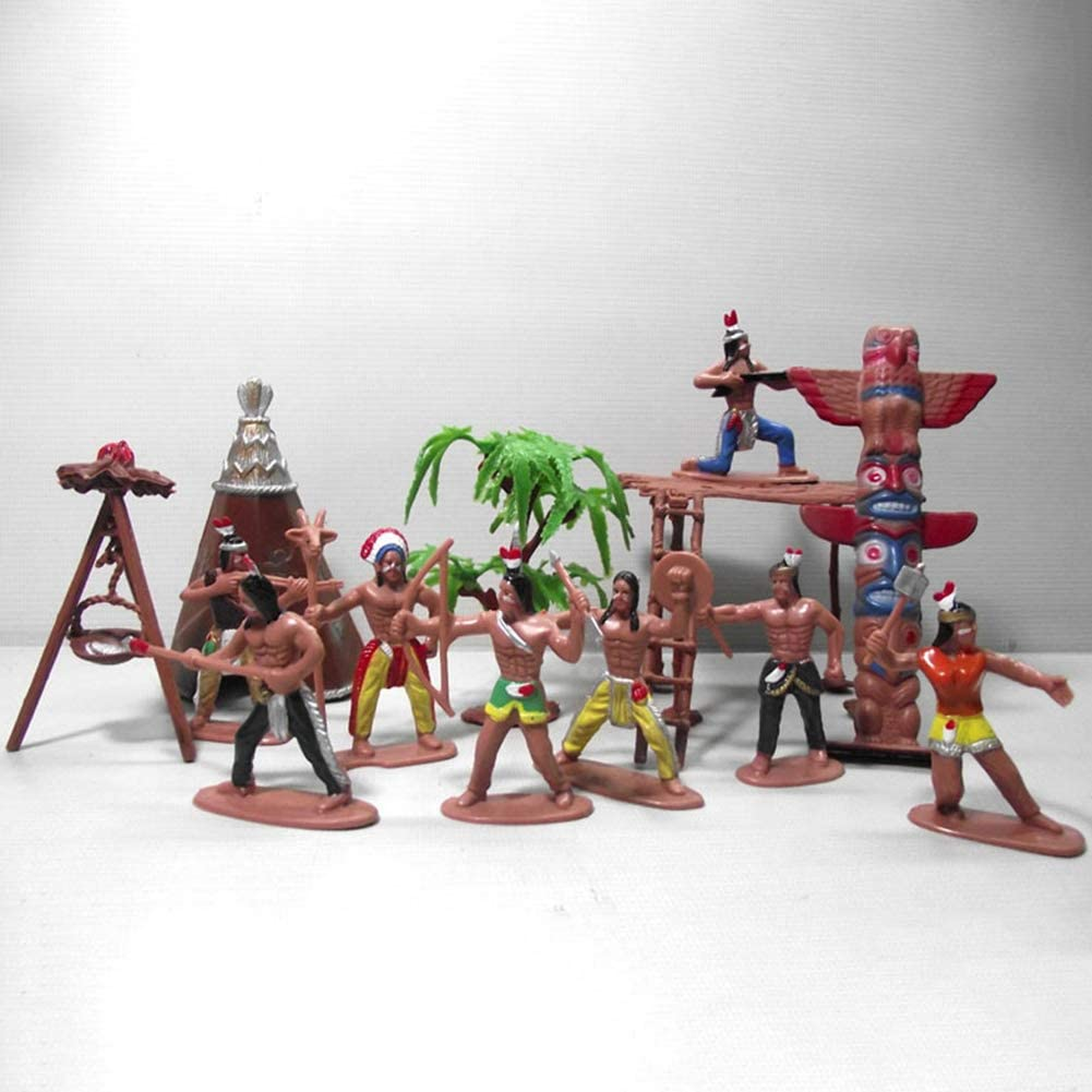 HongHong Outdoor Toys 13Pcs Set Indian Tribes Figures Model for