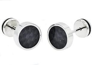Blackjack Jewelry Mens Stainless Steel Earrings With Carbon Fiber