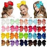 DEEKA 20 PCS Multi-colored 6' Hand-made Grosgrain Ribbon Hair Bow Alligator Clips Hair Accessories for Little Girls