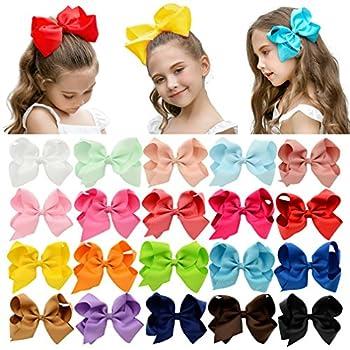 DEEKA 20 PCS Multi-colored 6  Hand-made Grosgrain Ribbon Hair Bow Alligator Clips Hair Accessories for Little Girls