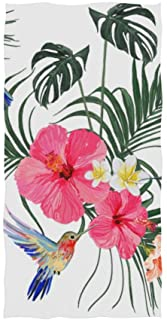 Naanle Floral Print with Hummingbird Palm Leaf Tropical Hibiscus Flower On White Soft Bath Towel Absorbent Hand Towels Multipurpose for Bathroom Hotel Gym and Spa 30x15