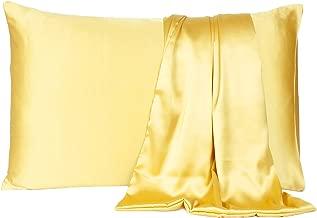 Satin Pillow Cover Pillowcase Soft & Comfortable Silky for Hair & Skin Home Decor (Banana Cream, Standard Size,20X26 INCHES)