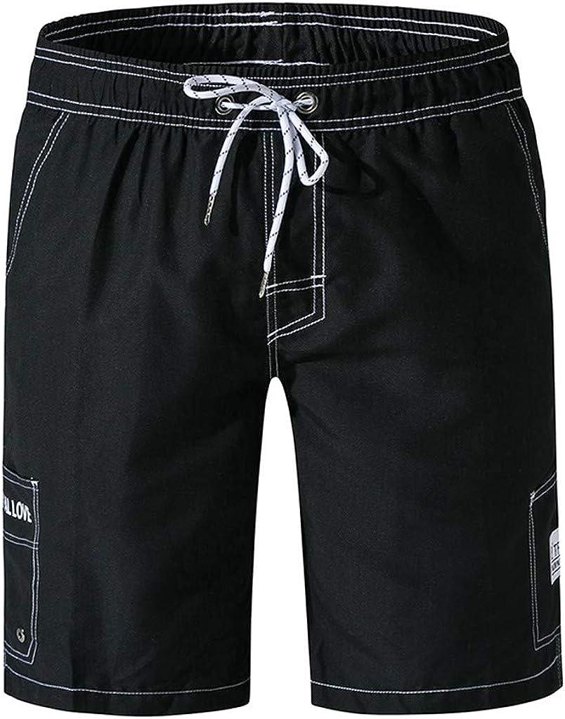 Gergeos Men Pockets Cargo Shorts Elastic Waist Casual Summer Beach Sport Shorts