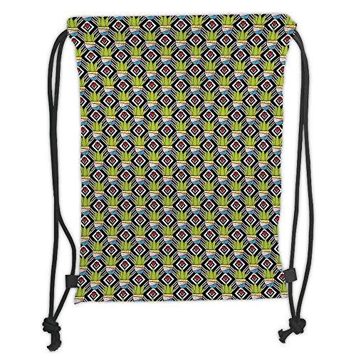 Fevthmii Drawstring Backpacks Bags, Kaktus, Love Themed Geometric Background Diamond Muster Rechteck mit Pflanzen in dekorativen Töpfen, Soft Satin, 5 l, Verstellbarer String