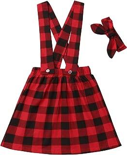 Kids Baby Girl Red Plaid Suspender Skirt Strap Dress Headband Set Christmas Outfit for Toddler
