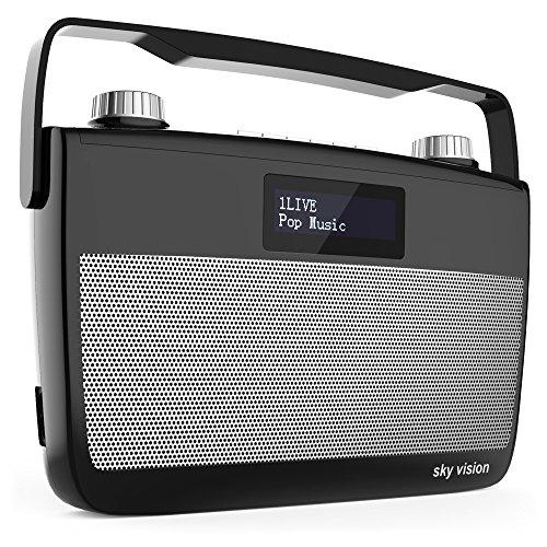Sky Vision DAB 7 S – DAB+ Digital-Radio (FM UKW Empfang, tragbar für unterwegs, Batterie-Betrieb möglich, Plus Kopfhörer-Anschluss), schwarz
