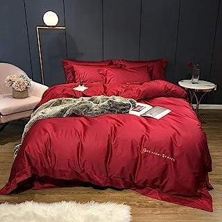Duvet Cover Set King Size Cotton, Duvet Cover Set Bedding Set 100% Egyptian Cotton Double 4 pcs White Green Red Navy Pink, 1 Quilt Cover 220×240CM +1 Flat Sheet 245×270 CM+2 Pillowcases