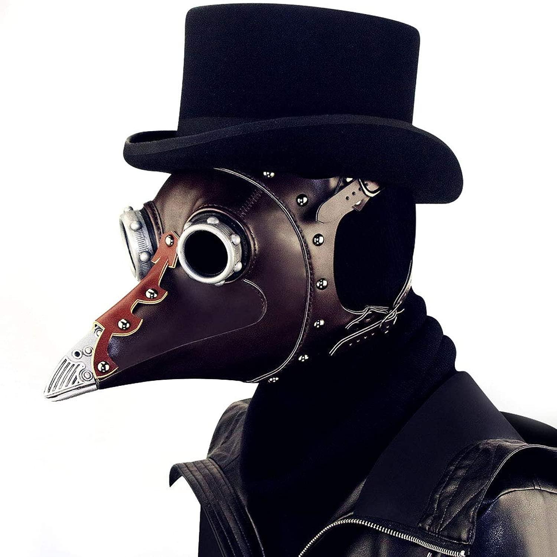 KERVINFENDRIYUN YY4 Pelle Ssquadrapunk Full Face Plague Doctor Bird Mask Lungo e Corto Naso Becco Faux Cosplay Htuttioween Natale Costume Puntelli (Coloree   Style1)