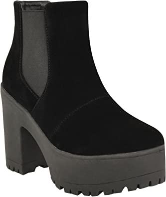 NEW WOMENS CHELSEA CHUNKY BLOCK HEEL GRIP SOLE WINTER ANKLE BOOTS SHOES SIZE 3-8