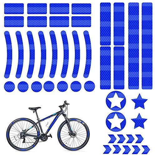 Reflektoren Aufkleber Sticker, 42 Stück Reflektoren Fahrrad, Reflektor Aufkleber Blau Set, Reflektor Sticker Fahrrad, für Kinderwagen Fahrrädern und Helm, Kleidung