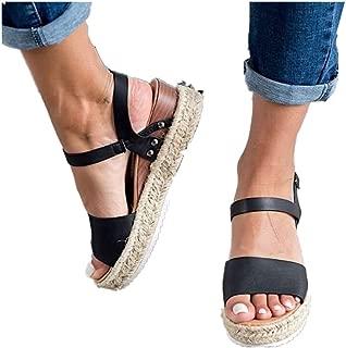 Cenglings Espadrilles Sandals,Women Open Toe Slip On Platform Sandals Buckle Strap Wedges Shallow Beach Shoes