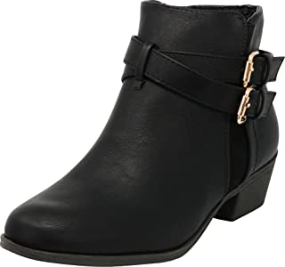 Cambridge Select Women's Closed Round Toe Buckled Crisscross Strap Stacked Chunky Block Heel Western Ankle Bootie